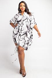 Plus Size Short Dolman Sleeve Button Down Shirt Dress with Draw Cord Hem