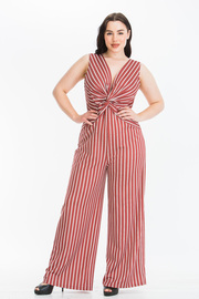Plus Size Striped Sleeveless Plunging neck Jumpsuit