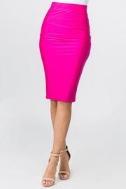 Nylon knee length pencil skirt.