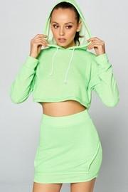 Loop terry hoodie crup top mini skirt set.