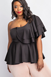 Plus Size One shoulder ruffled peplum top.
