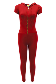 Short Slv. Solid jumpsuit with front zipper.