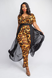 Plus Size Surplice short sleeve jumpsuit with contrast maxi skirt.