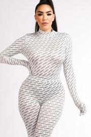 Diagonally printed candy bodysuit legings set.