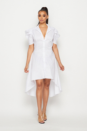 Solid puff slv shirt dress.
