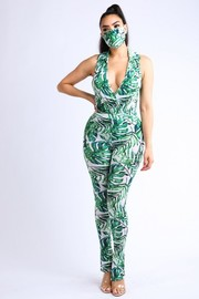 Tropical printed collared bodysuit.