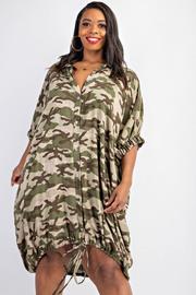 Plus Size Dolman sleeve shirt dress with drwa cord hem.