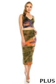 Plus Size Tie Dye 2 pice Set Crop top & Skirt.