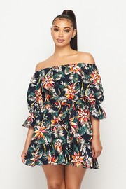 Topical printed off shoulder woven dress.