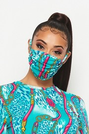 Double layered fashion mask with contrast binding.