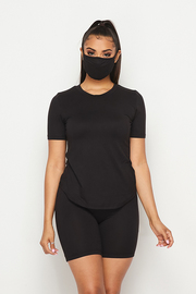 3 Pcs Rayon Mask set Solid Top & Short & Mask.