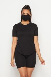 3 Pcs Rayon Mask set Solid Top & Short & Mask.