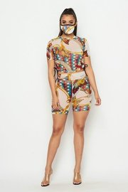 Mes butterfly print 3 piece set with ruched tie top, bermuda shorts, and mask