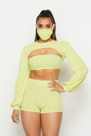 3 piece light knit set with super cropped top , shorts, and mask