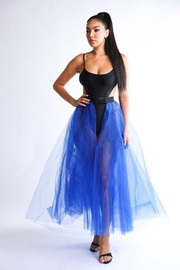 Tulle mesh maxi skirted belt.