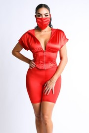 Stretch satin corset zip up top set with biker shorts and mask.