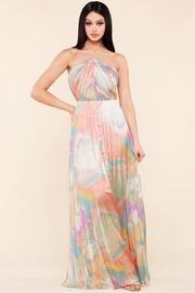 A pastel water color print faux satin maxi dress