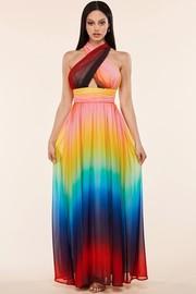 A rainbow sunset maxi dress