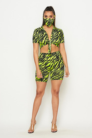 Zebra print 3 Piece Set crop top & short and mask.