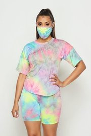 Tie Dye 3 Piece set with T Shirt, Short, and Mask.