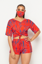 Tie dye 3 piece set tshirt, shorts, and mask.