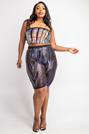 Plus Size Mesh sequin tube crop top and shorts set.
