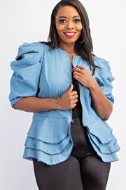 Plus Size Pleated Puff sleeve chambray peplum jacket.
