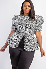 Plus Size Pleated puff sleeve peplum jacket.