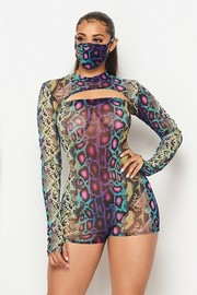 Romper, mini mock neck top and matching face mask.