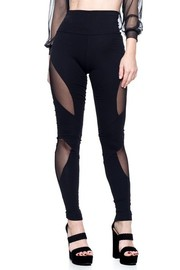 Pair of high-waisted leggings with mesh detail.