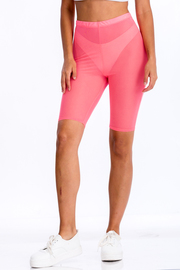 Neon pink see through mesh biker shorts