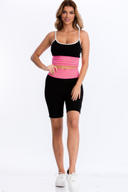 Neon color tape hem cami top and biker shorts