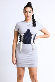 Corset body double lace up dress.