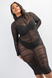 Plus Size Long sleeve shirred midi length dress.