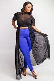 Plus Size Pleated short sleeve maxi top.