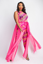 Plus Size Sheer Jumpsuit with Side Maxi Panels