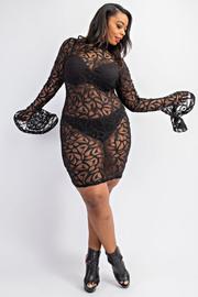 Plus Size Mock Neck long sleeve Dress.