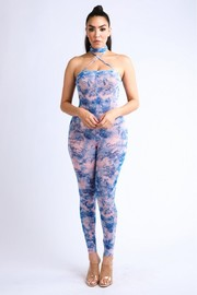 Long strap multiway printed mesh jumpsuit.