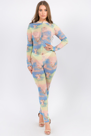 Full body angel colorful print jumpsuit.