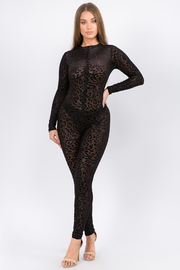 Full body Leopard print jumpsuit.