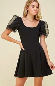 Puff Slv solid dress.