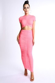 Ruched mesh maxi skirt set.