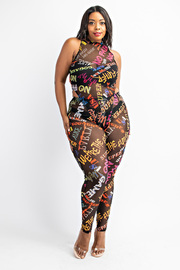 Plus Size Mock neck bodysuit and leggings set.
