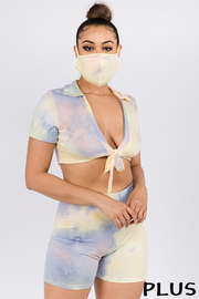 Plus Size Tiedye 3 Piece Set Top & Short and Mask set.
