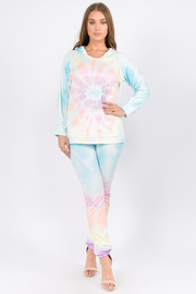 Tiedye Long sleeve hoodie top & pants set.