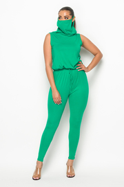 2 Pcs Sleeveless solid jumpsuit & mask set.