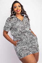 Plus Size Short sleeve zip-front romper.