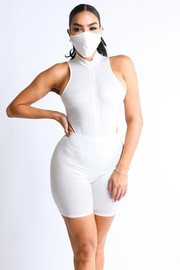 Foiled Venezia zip up bodysuit with biker short and mask