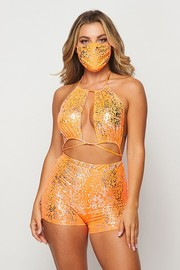 Strapy romper with matching mask. *Mask is One Size*