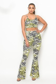 Sleeveless crop top with flared pants set